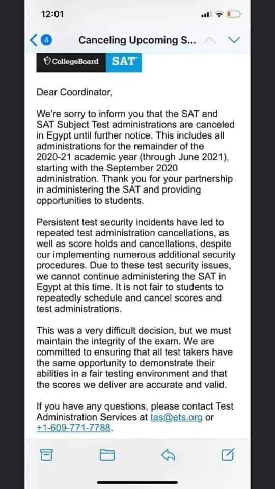 SAT Exams are Cancelled until further notice in Egypt, putting the future of students in jeopardy