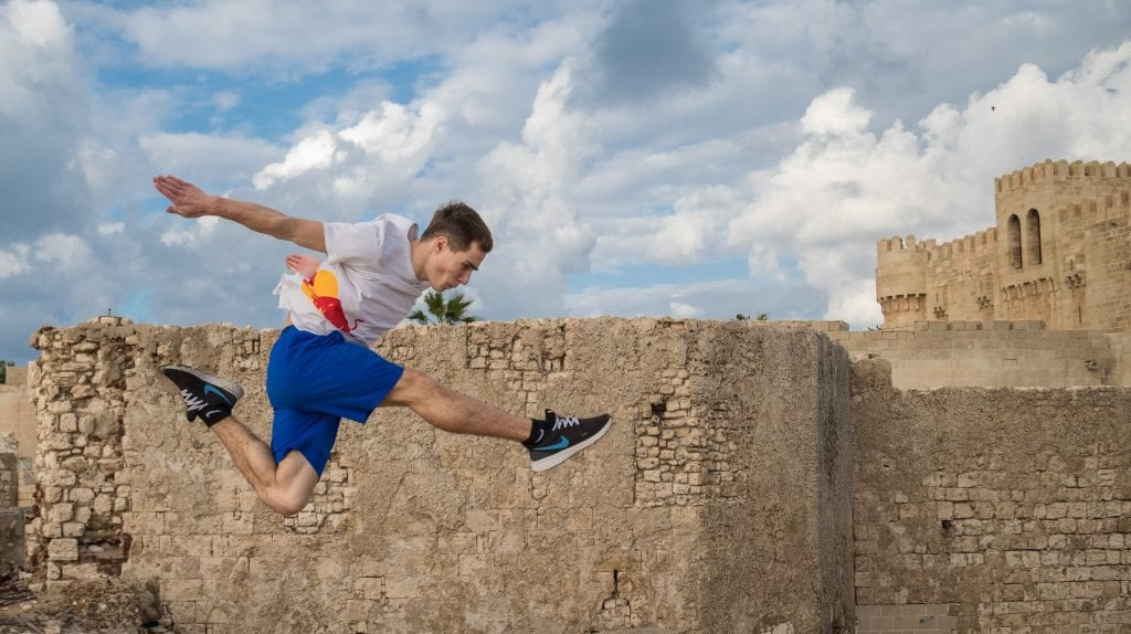 Red Bull Introduces Alexander Titarenko to the Egyptian Parkour Community
