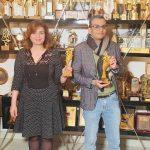 Amir Ramses and Elham Shaheen receive the Arab Media Award for the movie Curfew