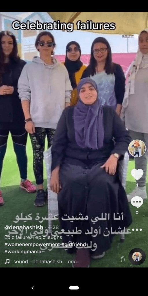 A screenshot from one of Dina Hashish's tiktok videos with Rahet Balley's team, Noor is the one sitting in the middle.