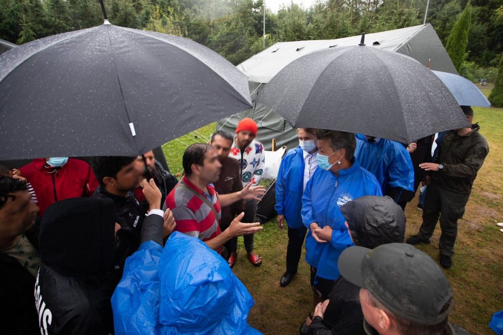 """EU Commissioner for Home Affairs, Ylva Johansson, meeting """"irregular arrivals"""" from Belarus at the Lithuanian border crossing point Padvarionys."""