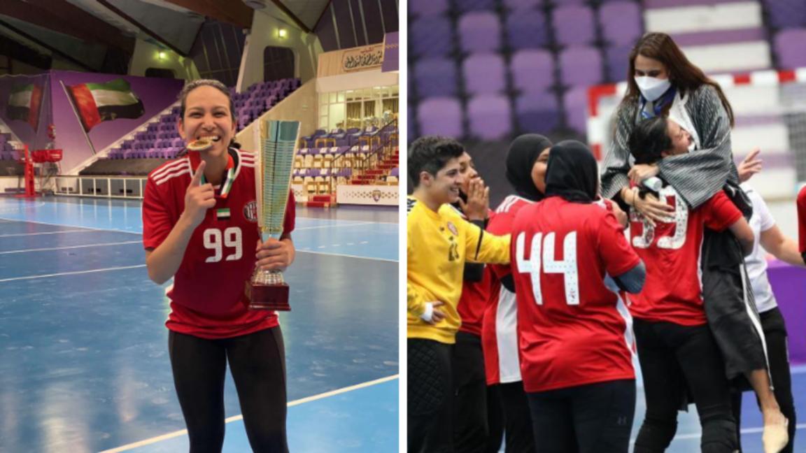 Handball player Shaimaa El Sawy Kashkoush wins the League Cup for UAE club Al-Jazira